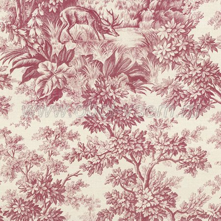 Обои  Stag Toile Burgundy Révolution Papers (Little Greene)